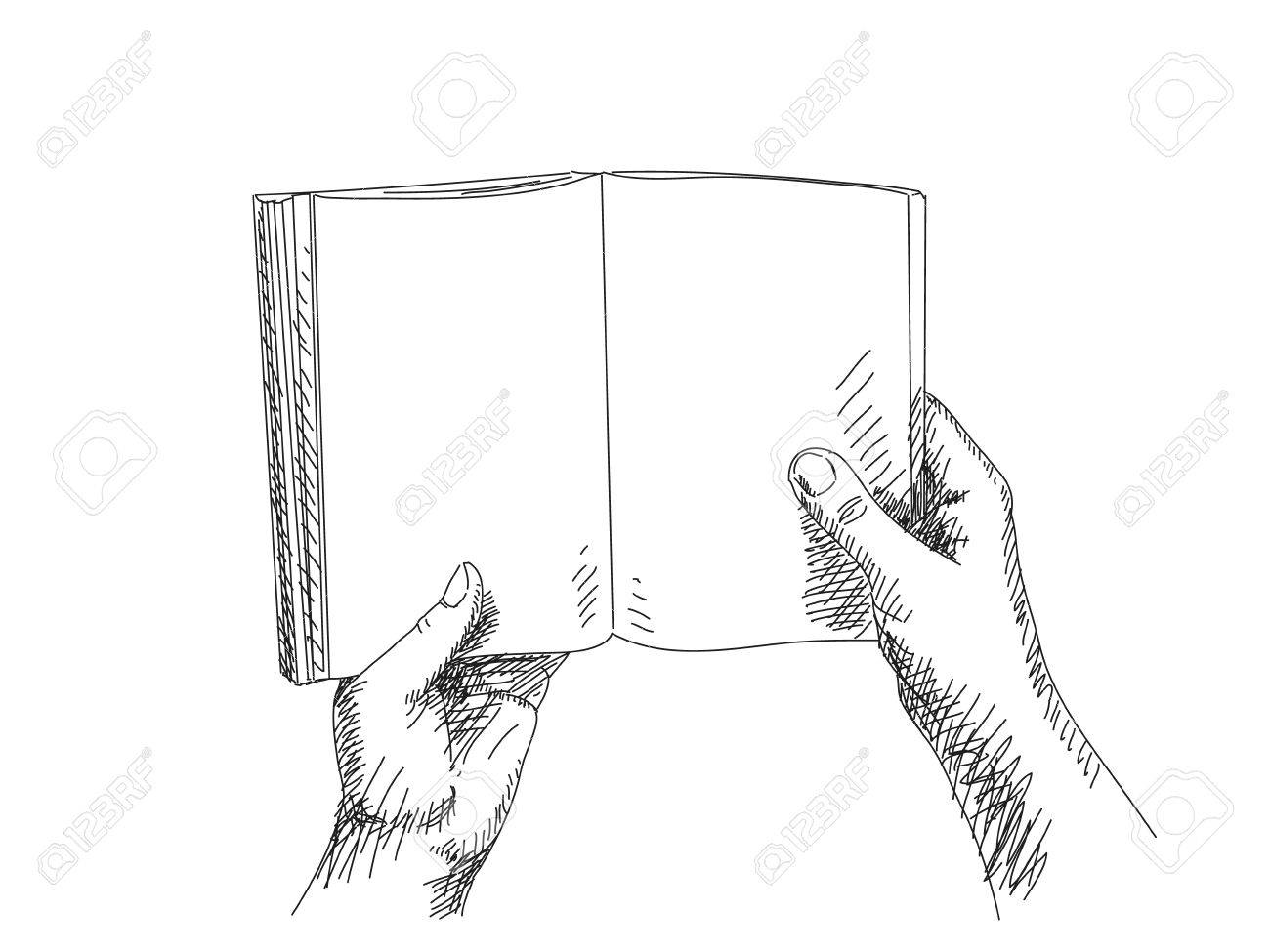 Sketch of hand holding book stock vector 36999729