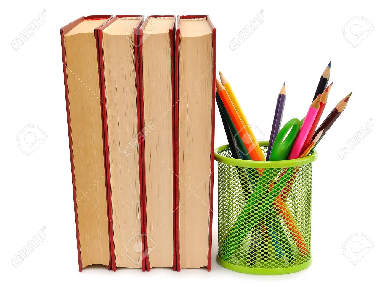 Books and pencils on a white background Stock Photo - 14594927