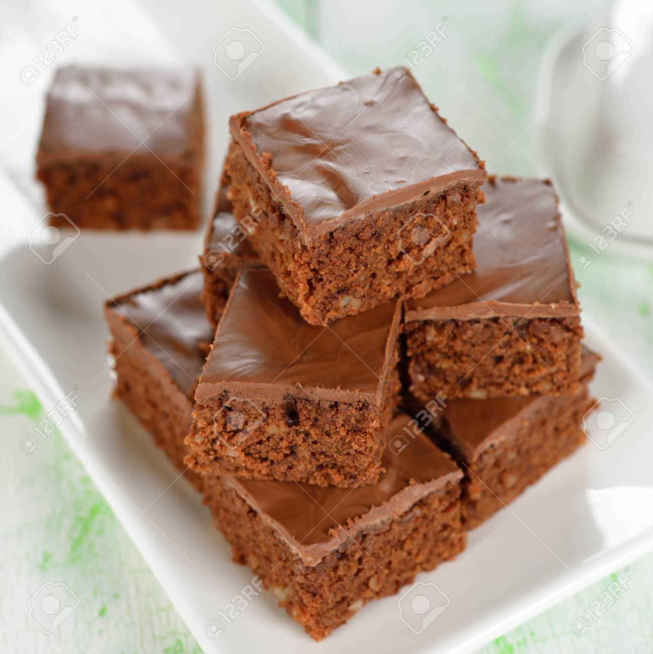 Chocolate brownies closeup on a white table Stock Photo - 19154689
