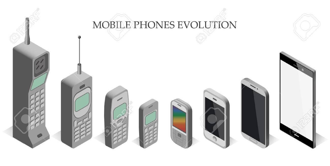 Vector set modern and vintage mobile gadgets. mobile phone evolution vector isometric. Mobile phone evolution vector isometric. Isometric mobile phone template. - 56917017