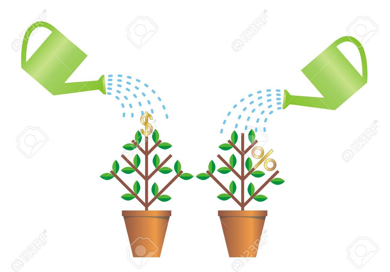 Pots with plants on watered from watering cans Stock Vector - 5199747