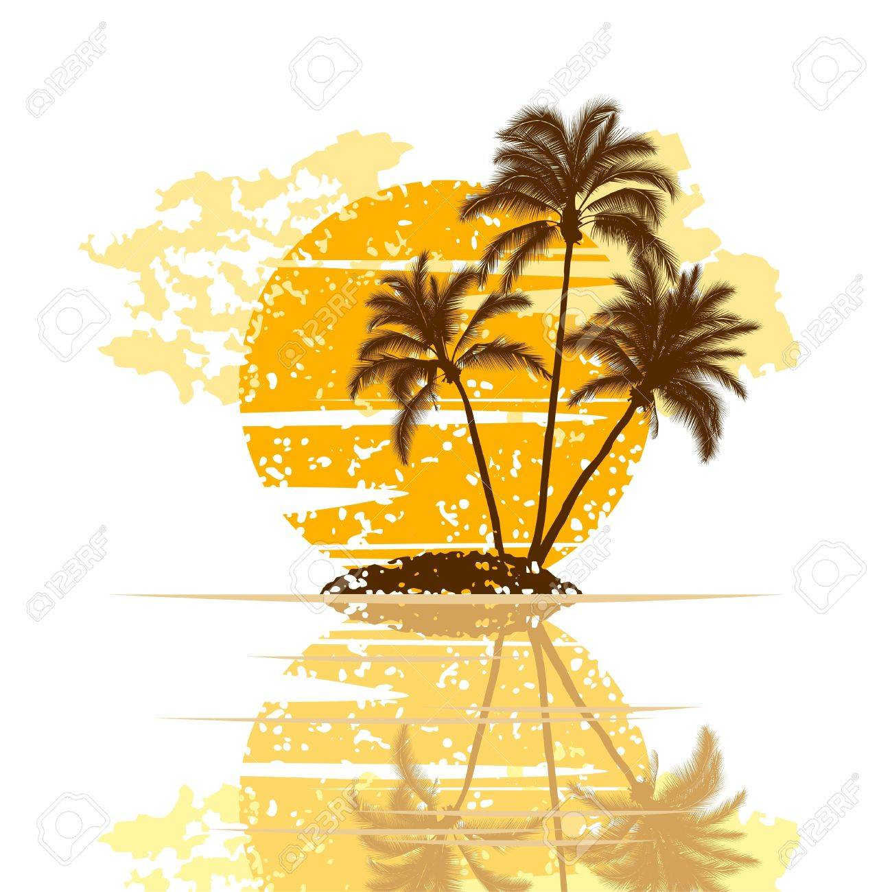 Sunset on island with palm trees on a white background Stock Vector - 9151771
