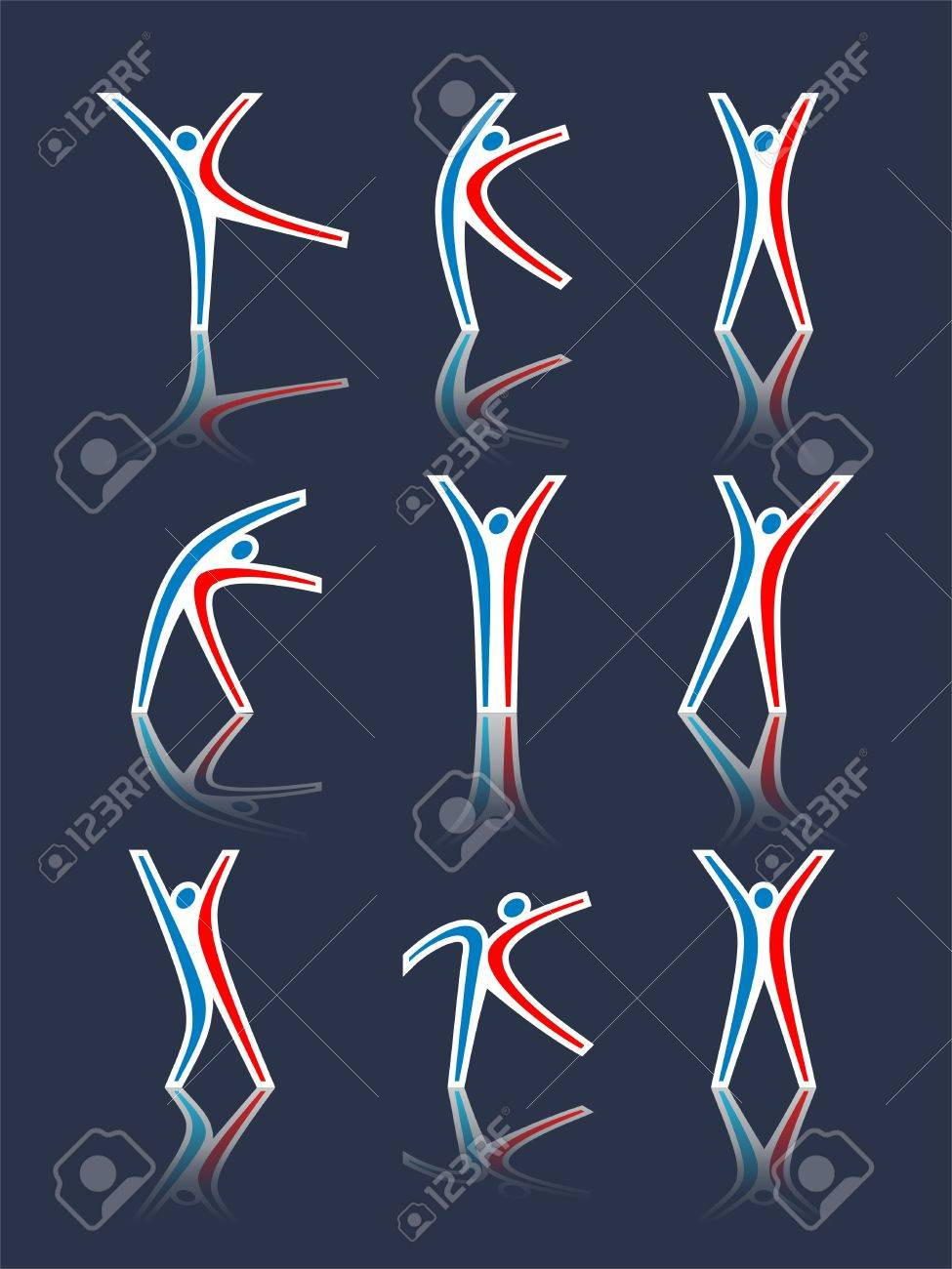 Set of the abstract stylised human figures on a dark background Stock Vector - 9151767