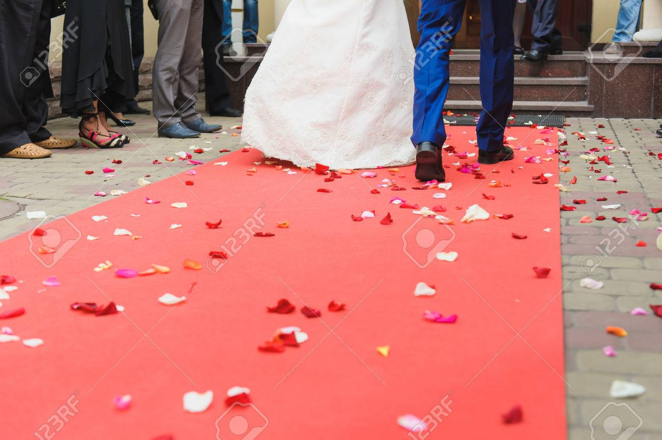 Couple Walk On The Red Carpet Rose Petals On The Carpet View