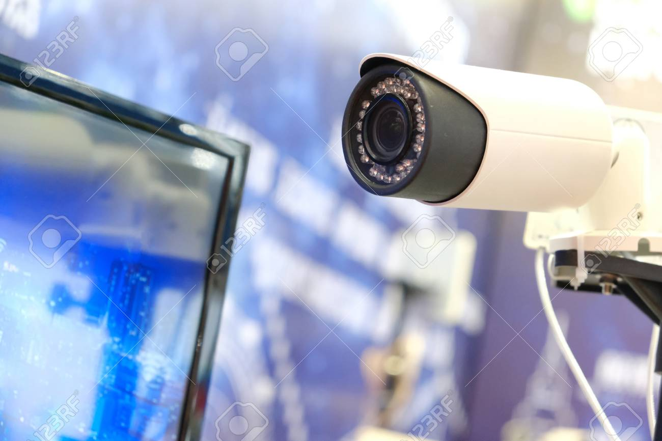 Video Monitor And Security Cctv Camera In Modern Light Background Stock Photo Picture And Royalty Free Image Image 91630688