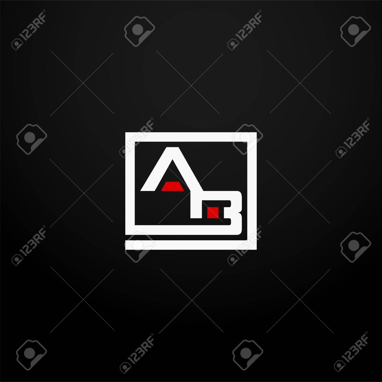 Initial letter AB linked square logo white and red color. Corporate identity design template element. Industry, finance, bank logotype. Square group, technology interaction, network integrate concept. - 145507833