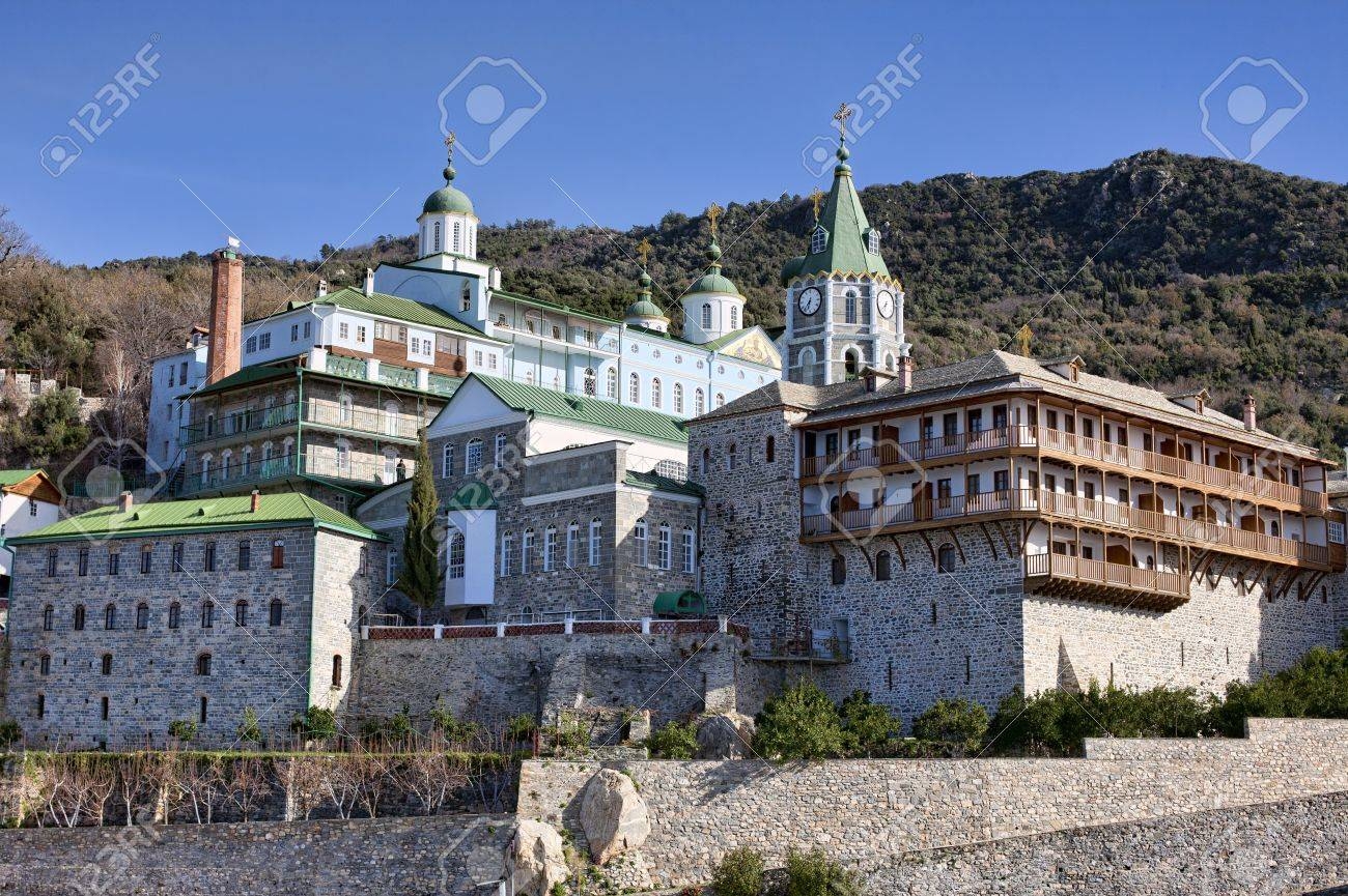 Russian St. Pantaleon Orthodox monatery at Mount Athos, Agion Oros (Holy Mountain), Chalkidiki, Greece Stock Photo - 11327652