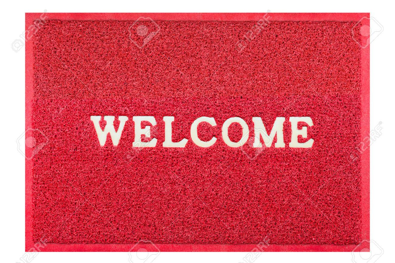 Awesome Stock Photo   Welcome Doormat Red Color
