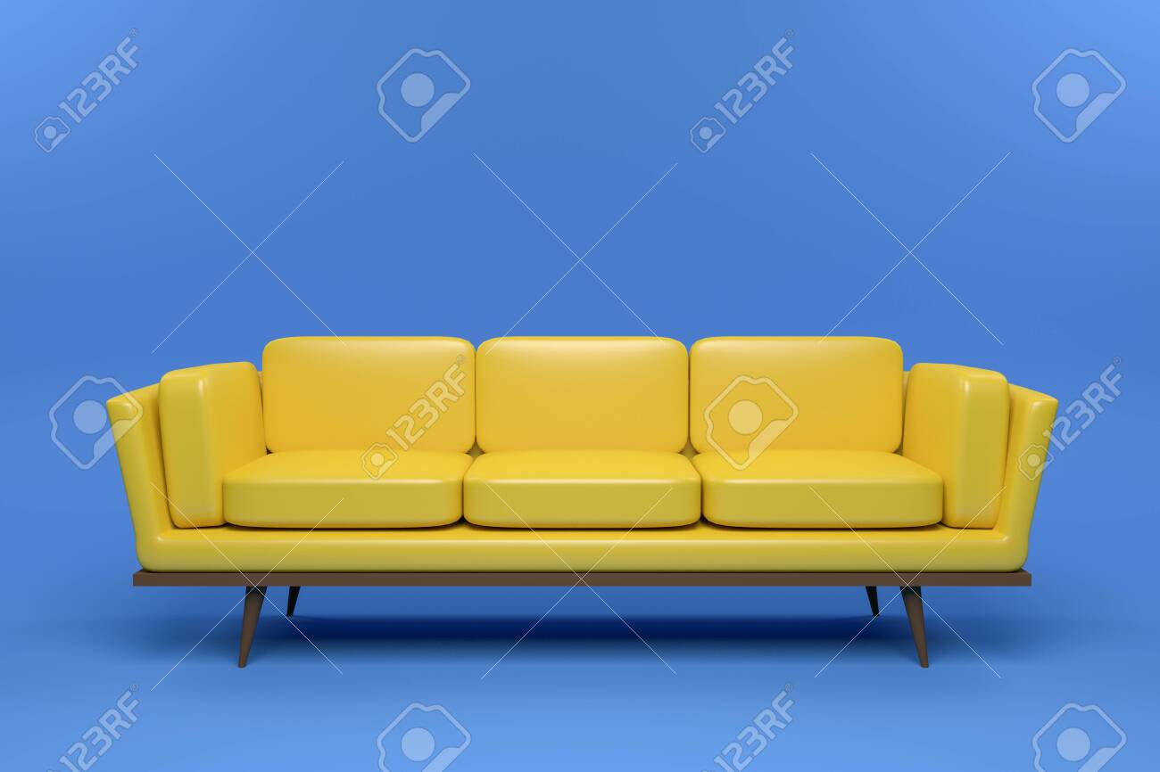 - Yellow Leather Sofa Design In Blue Background, 3D Rendering