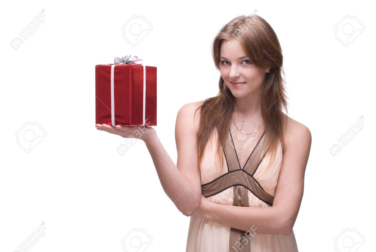 Closeup portrait of beautiful girl with green eyes, clear makeup and some gifts Stock Photo - 8433823