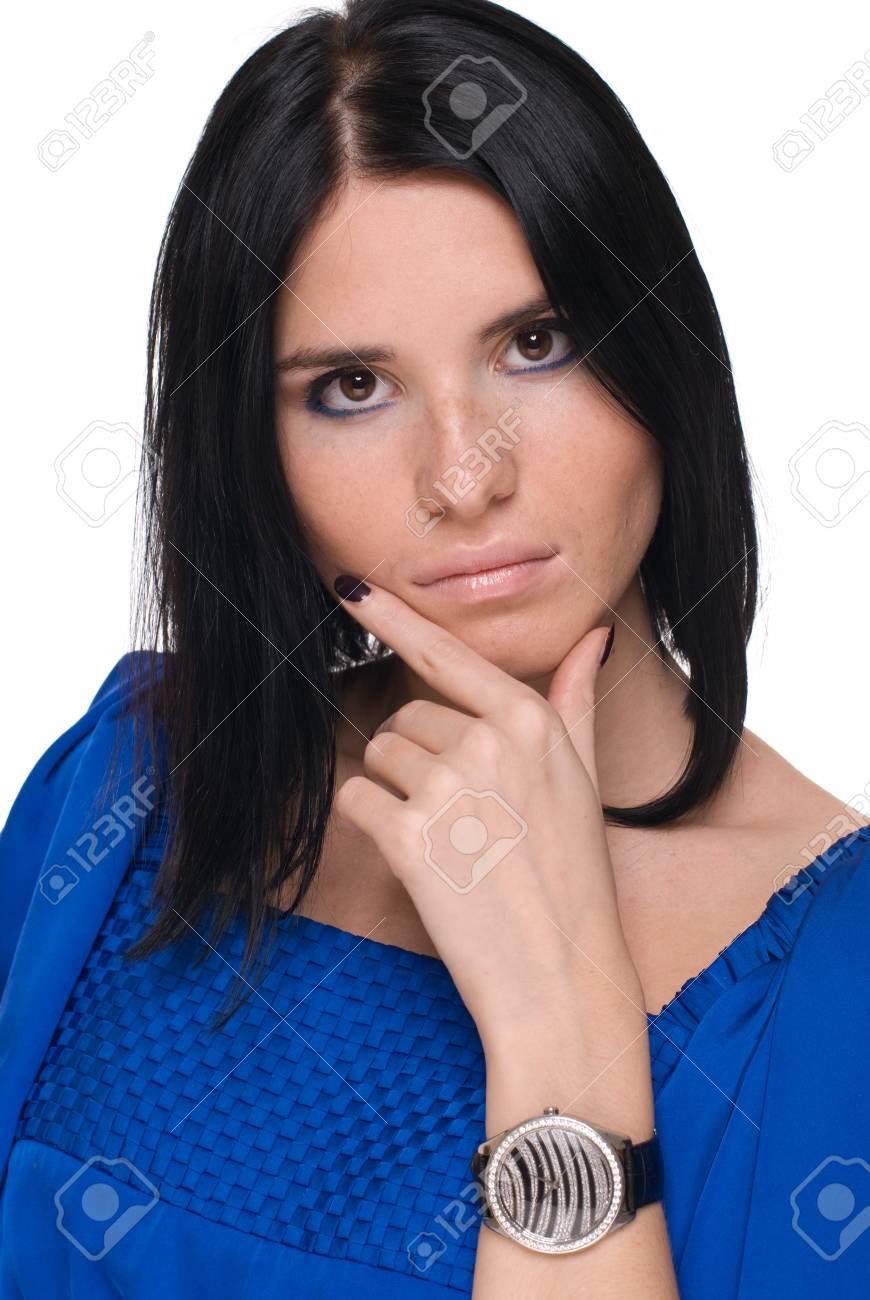f3361ebd29fc Closeup ritratto di donna bella moda in abito blu e la cintura nera  Archivio Fotografico -