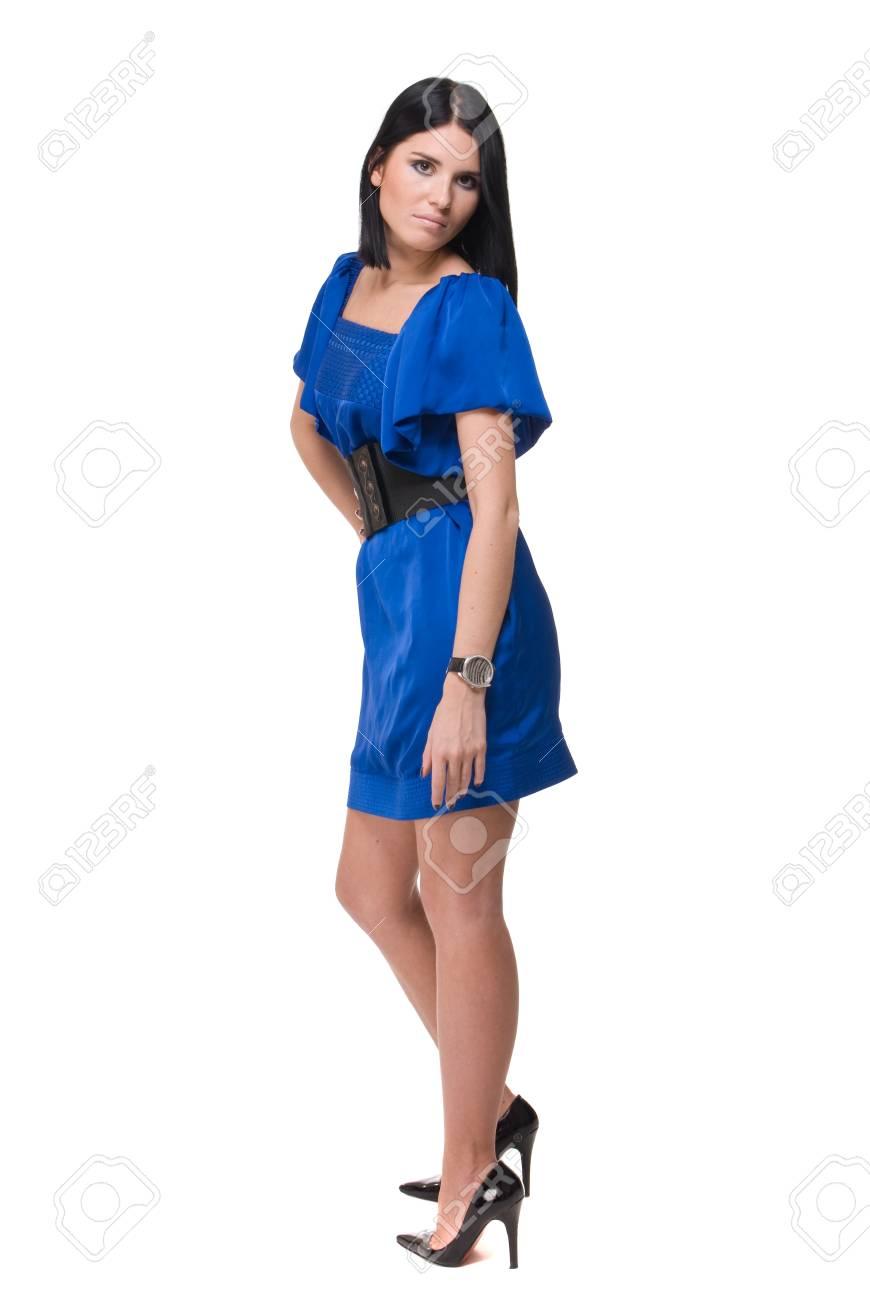 27b07577f4c7 Archivio Fotografico - Ritratto di donna bella moda in abito blu con  cintura nera