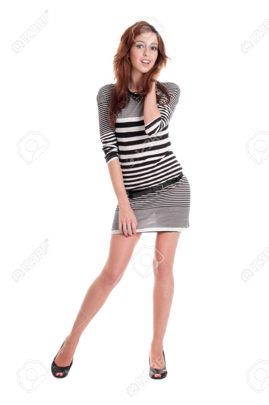 Young beautiful prisoner woman fun posing in costume isolated on white Stock Photo - 8877275
