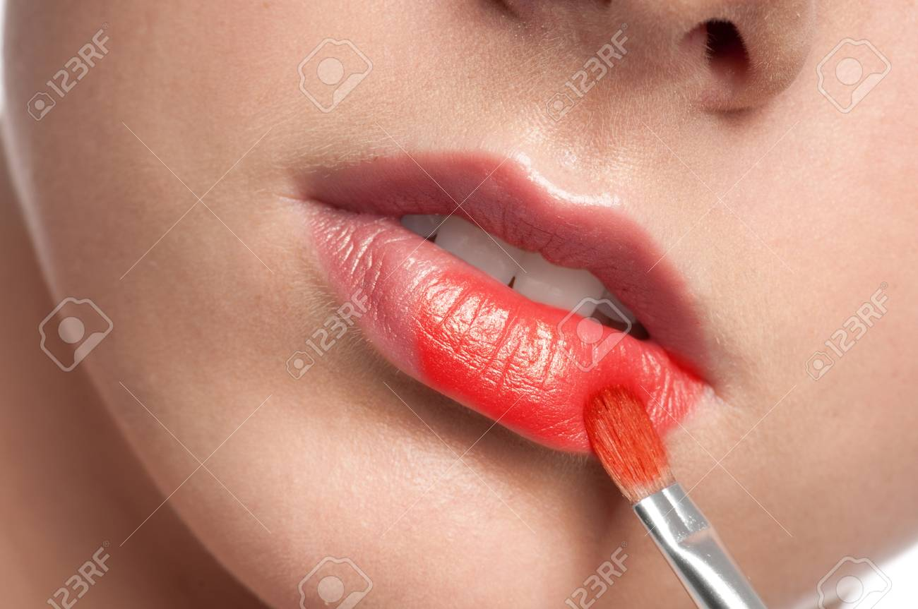 Close-up face of beauty young woman - lips make-up zone Stock Photo - 10724243