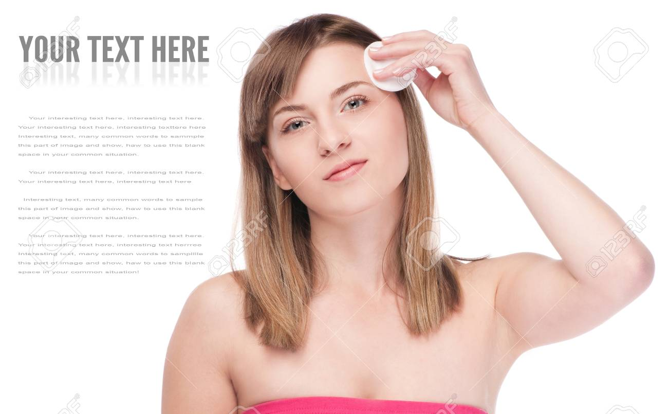 Close-up portrait of young woman with perfect health skin of face and clean sponge. Isolated on white Stock Photo - 13321477