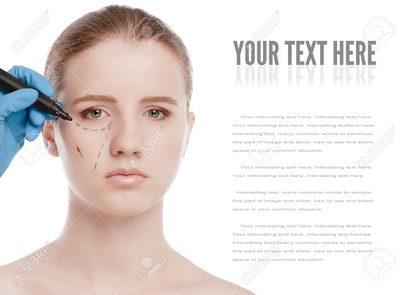 Beautician touch and draw correction lines on woman face. Before plastic surgery operetion. Isolated on white Stock Photo - 13622192