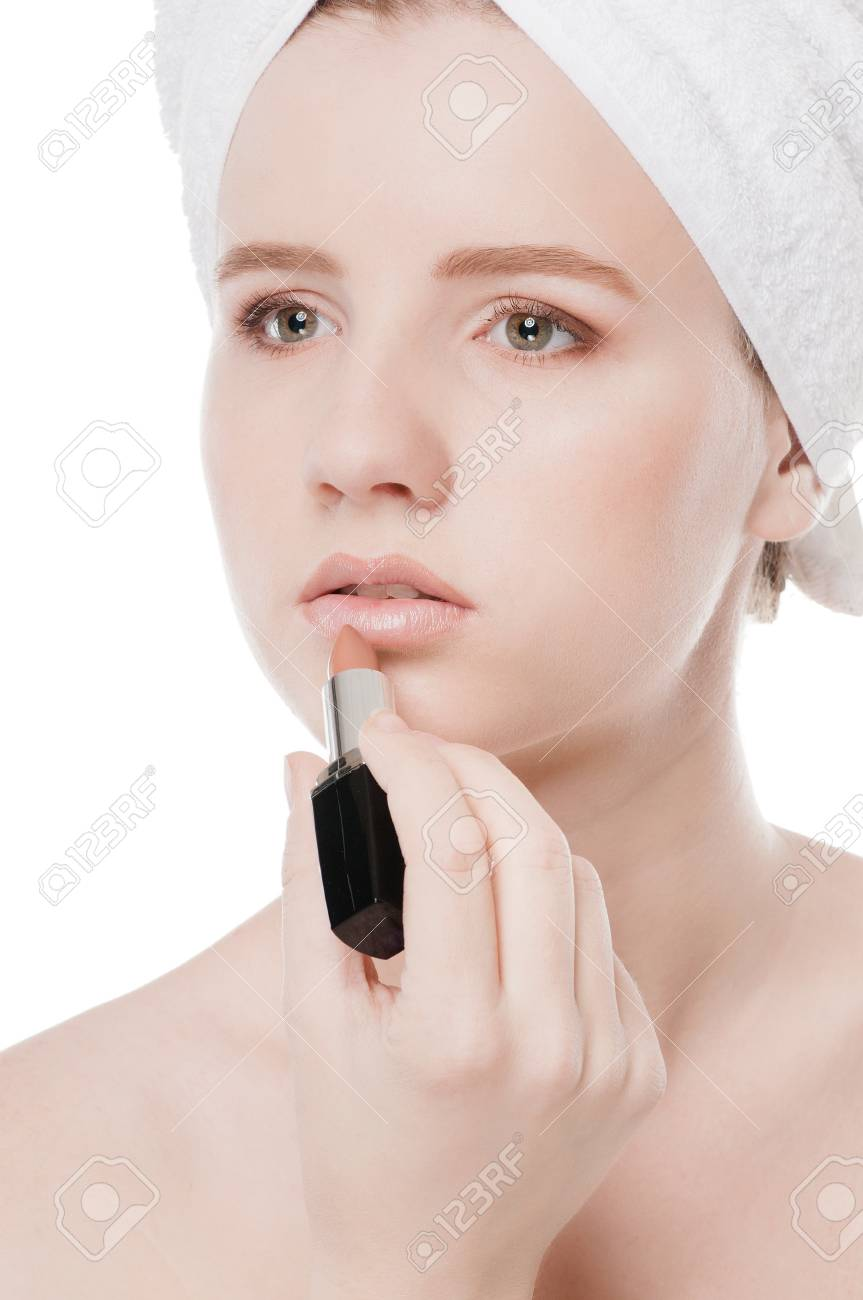Close-up portrait of young beautiful woman with lipstick for make-up. Lips zone Stock Photo - 13947275