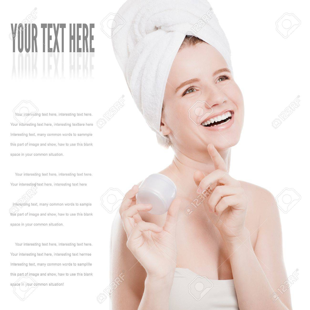 Woman applying moisturizer cream on face. Close-up fresh woman face isolated on white Stock Photo - 18207926