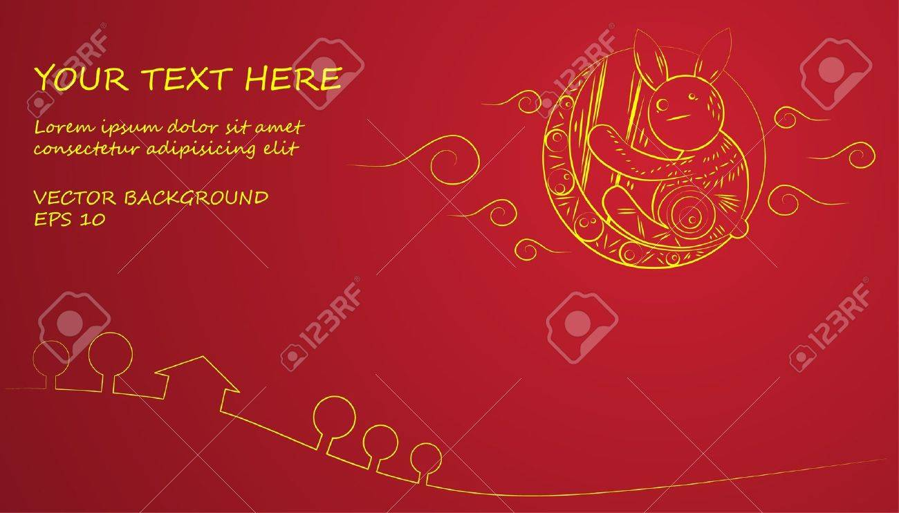 Chinese Mid Autumn Festival yellow moon and rabbit on red background Stock Vector - 21964559