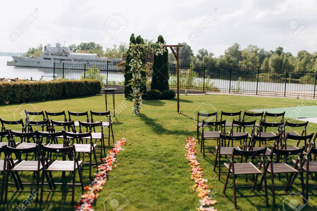 Wedding Ceremony Area Arch Chairs Decor Stock Photo Picture And Royalty Free Image Image 141175269
