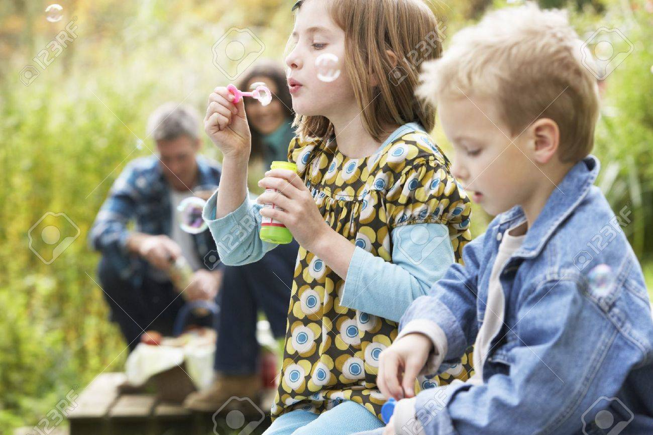 Two Young Children Blowing Bubbles On Countryside Picnic Stock Photo - 7182120