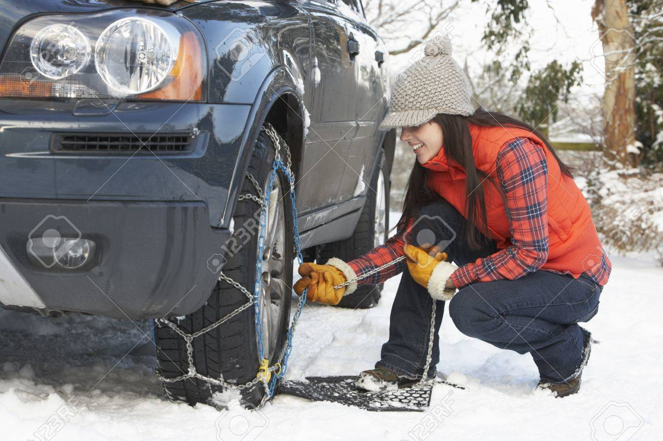 Woman Putting Snow Chains Onto Tyre Of Car Stock Photo - 7178342
