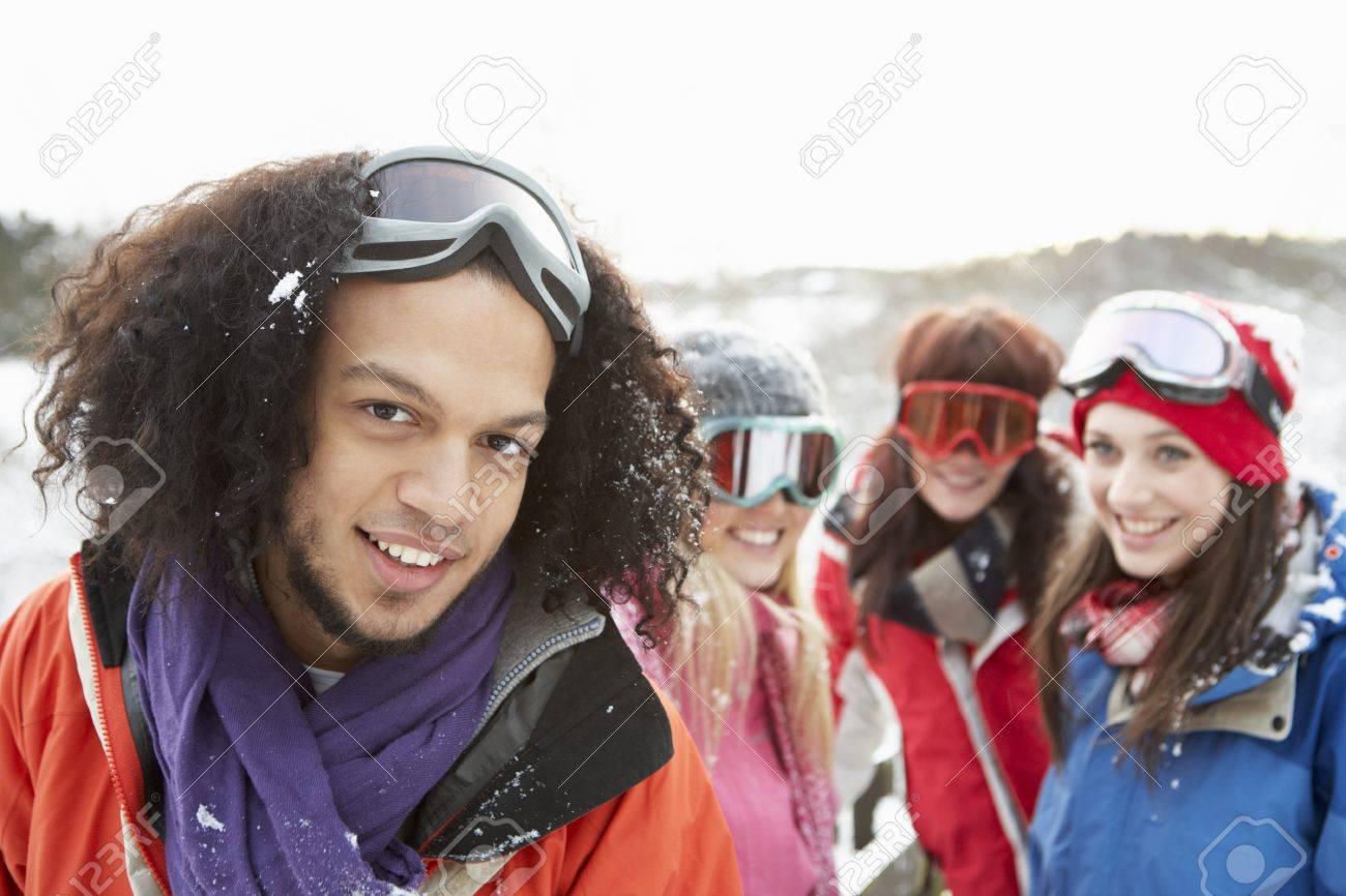 Group Of Teenage Friends Having Fun In Snowy Landscape Wearing Ski Clothing Stock Photo - 7177671