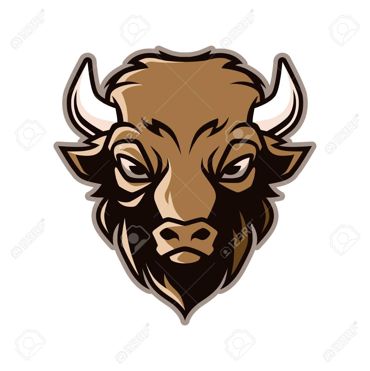 Bison Tête Mascotte Vecteur