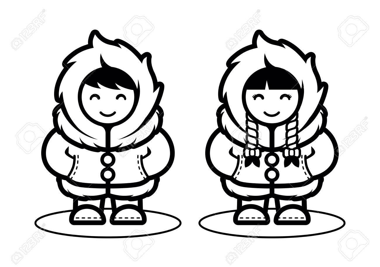 Young eskimo cute couple illustration in cartoon style illustration