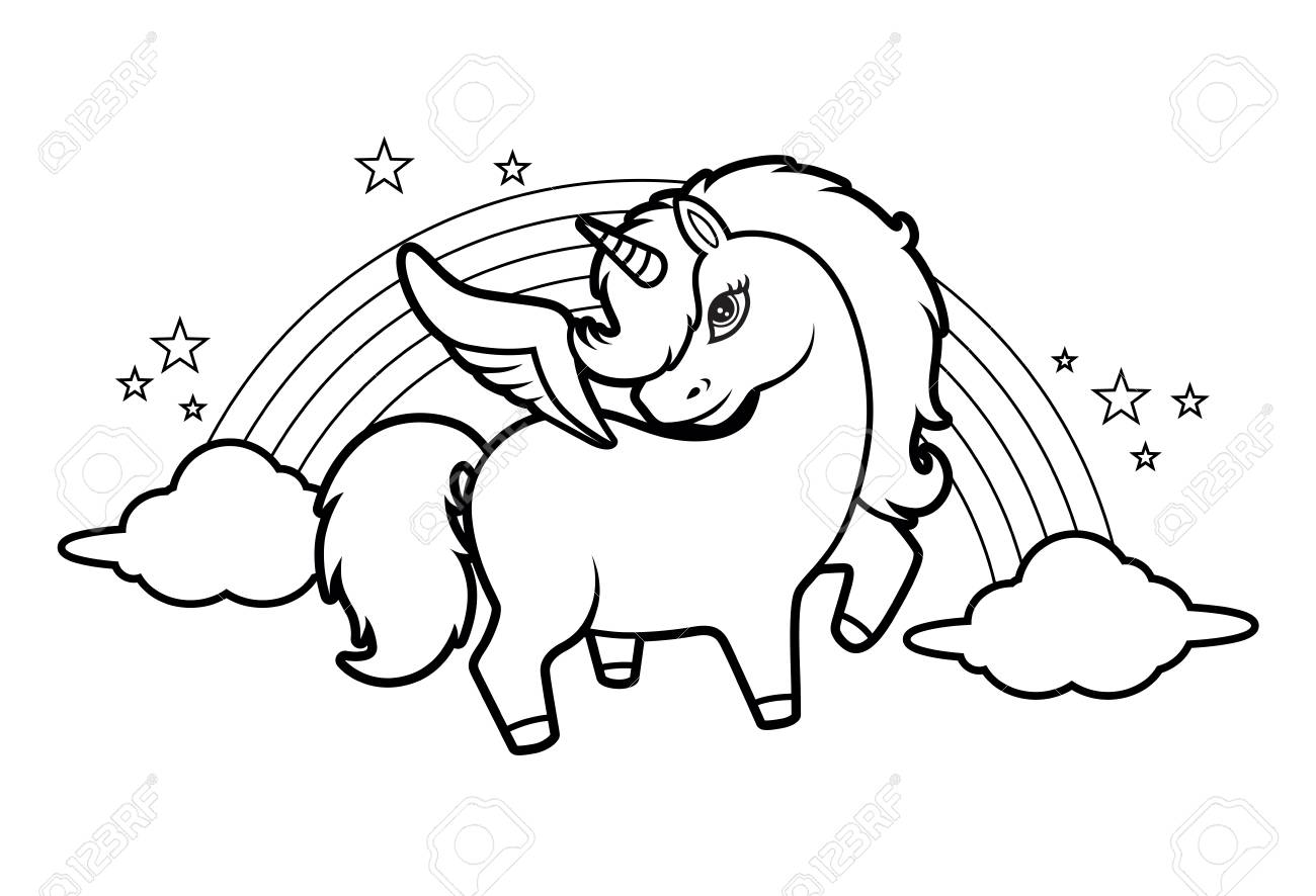 Cute Little Magical Unicorn Rainbow And Stars Coloring Book Royalty Free Cliparts Vectors And Stock Illustration Image 115842552
