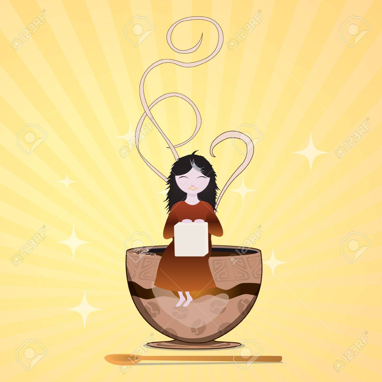 the girl with a piece of sugar goes to a cup Stock Vector - 18539933