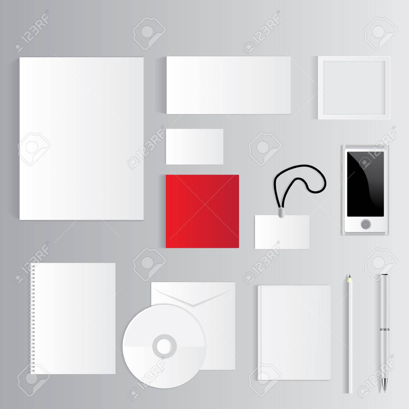 Blank Corporate Set Isolated On Grey Business Cards, Folder ...
