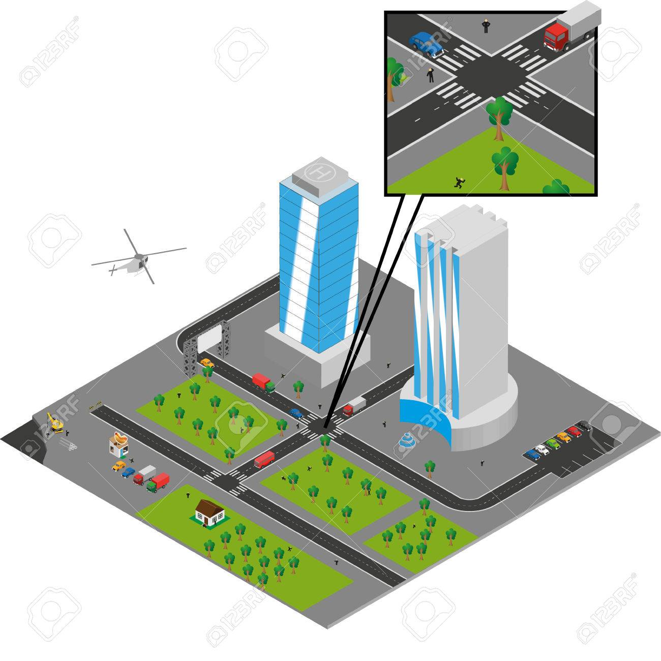 isometric city  on white Stock Vector - 24899262