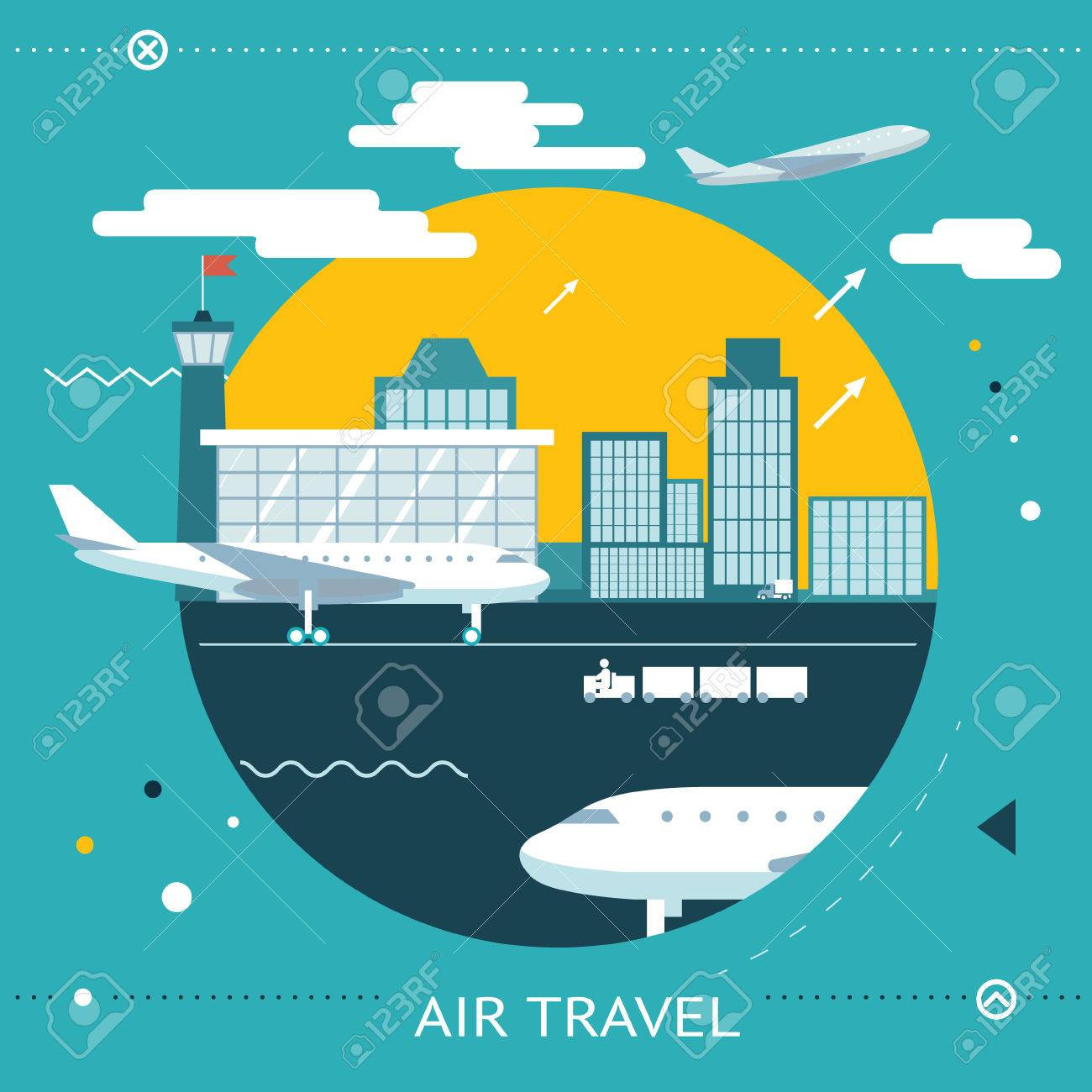Travel Lifestyle Concept of Planning a Summer Vacation Tourism and Journey Symbol Airplane Airport City  Flat Design Icon Template Stock Vector - 29035342