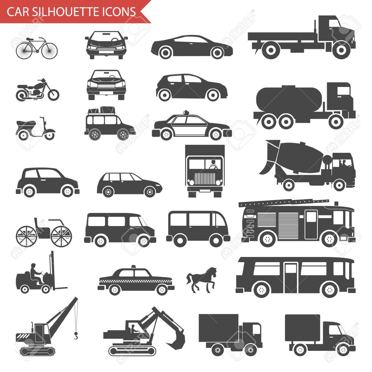 Cars and vehicles silhouette icons transport symbols set vector cars and vehicles silhouette icons transport symbols set vector illustration stock vector 29240113 biocorpaavc