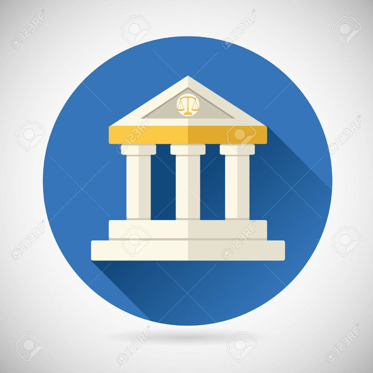 Law Court Museum Or Bank House Symbol Justice Finance Or