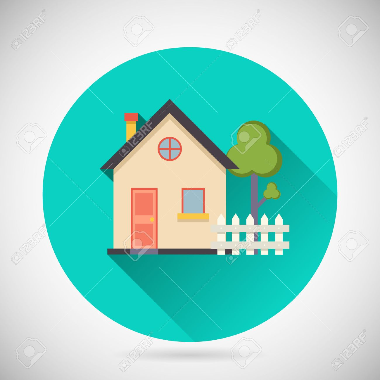 Real estate symbol house building private property tree fence real estate symbol house building private property tree fence icon with long shadow on stylish background biocorpaavc Image collections