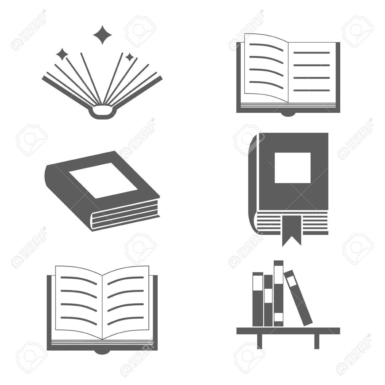 reading books signs and symbols icons template on stylish background