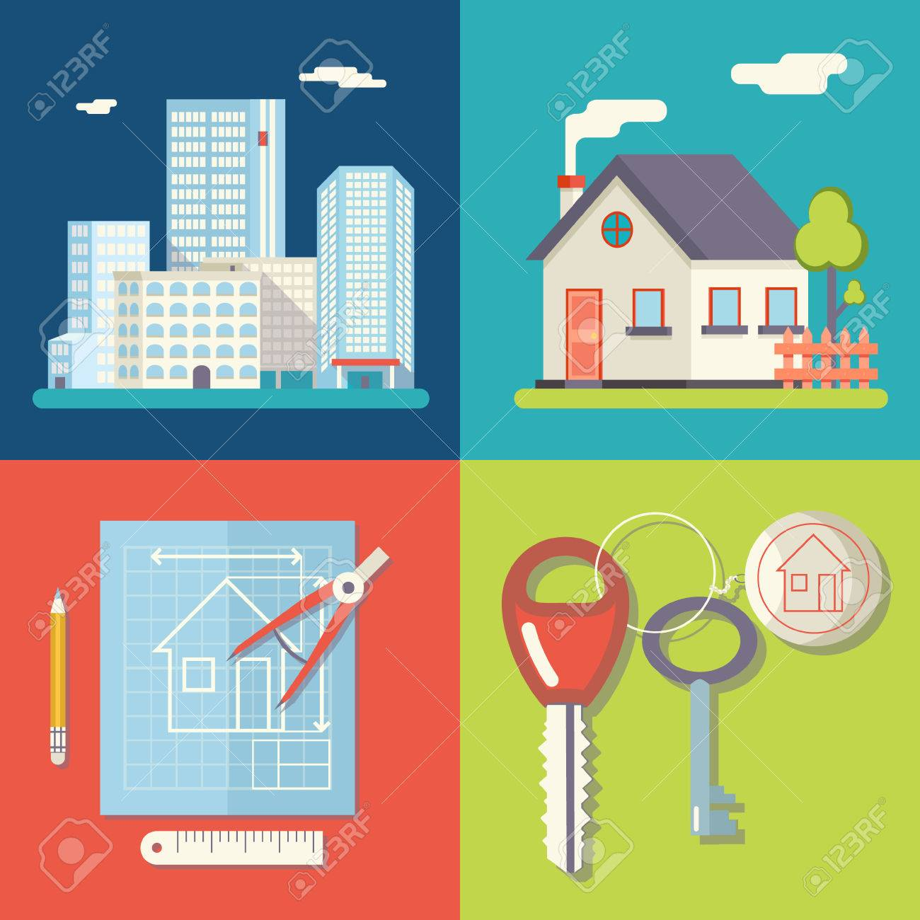 Retro Real Estate Symbols Private House Construction Plan Keys
