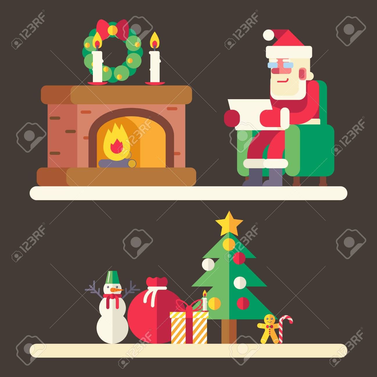 Santa claus reading mail list new year accessories icons greeting santa claus reading mail list new year accessories icons greeting card design concept template vector illustration kristyandbryce Gallery