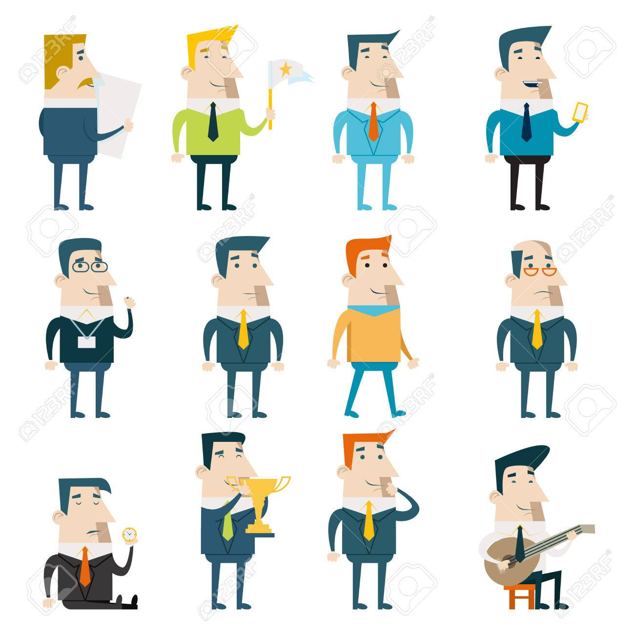 businessman cartoon characters business marketing icons set concept