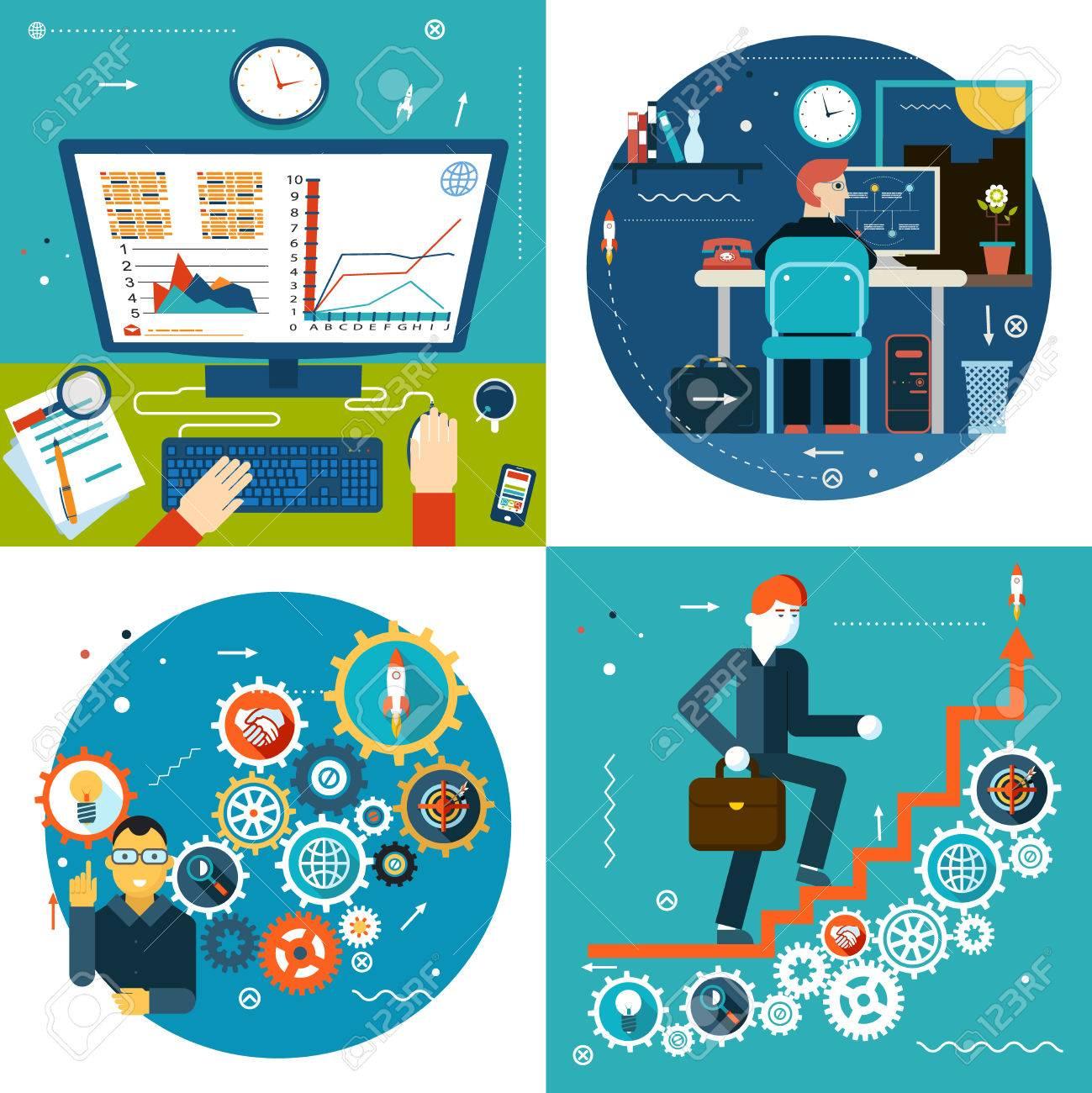 成功階段歯車オンライン ビジネス統計概念シンボル実業家研究タイム