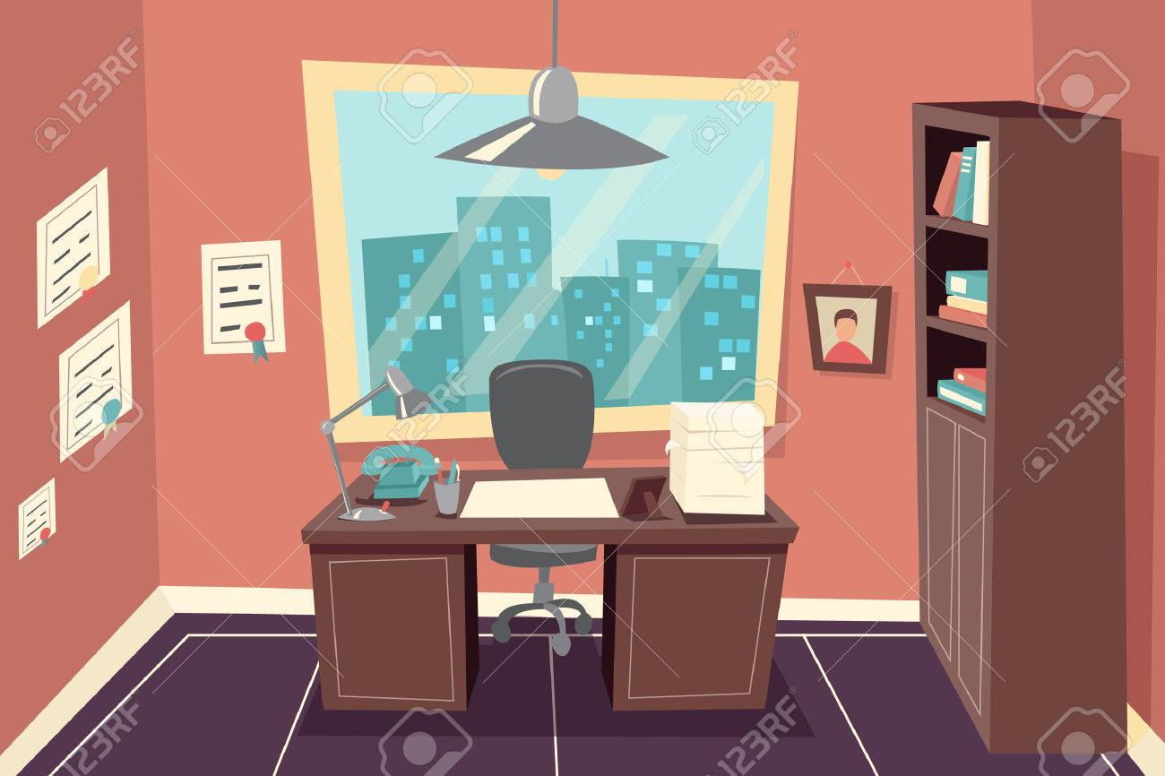 Stylish Business Working Office Room Background Desk City Window