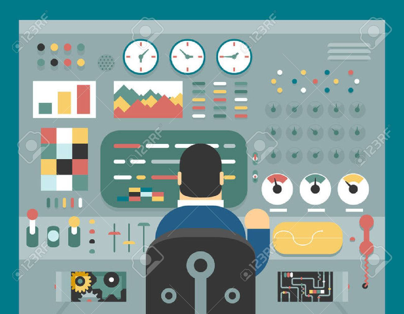 Scientist businessman work in front of control panel analysis production development study flat design concept illustration - 39798273