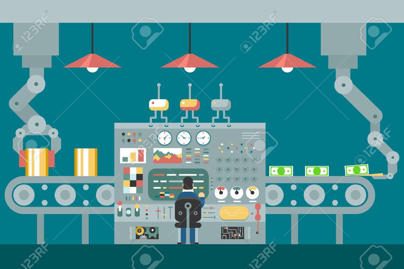 Conveyor robot manipulators work businessman in front of control panel analysis production development study flat design concept illustration - 37027911