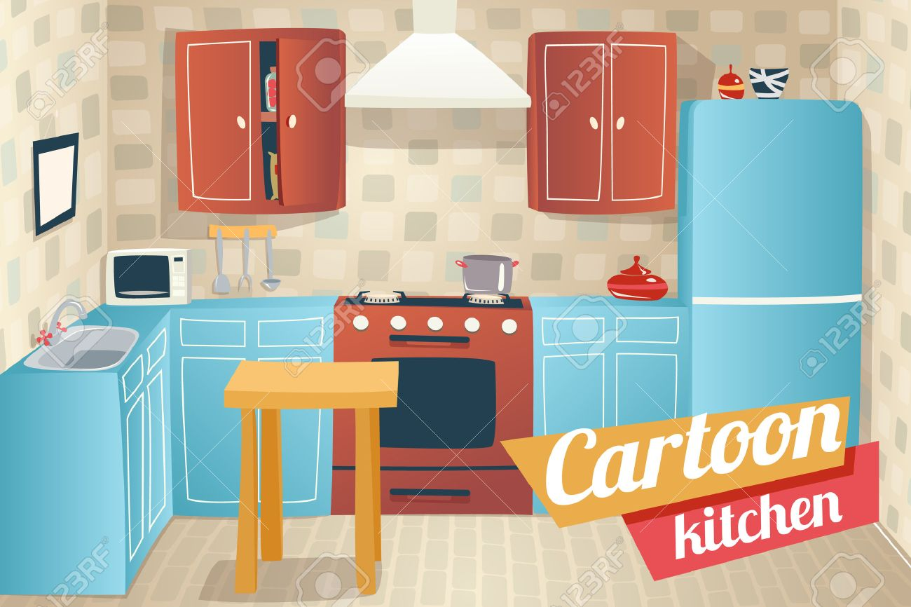 Kitchen Furniture Accessories Interior Cartoon Apartment House