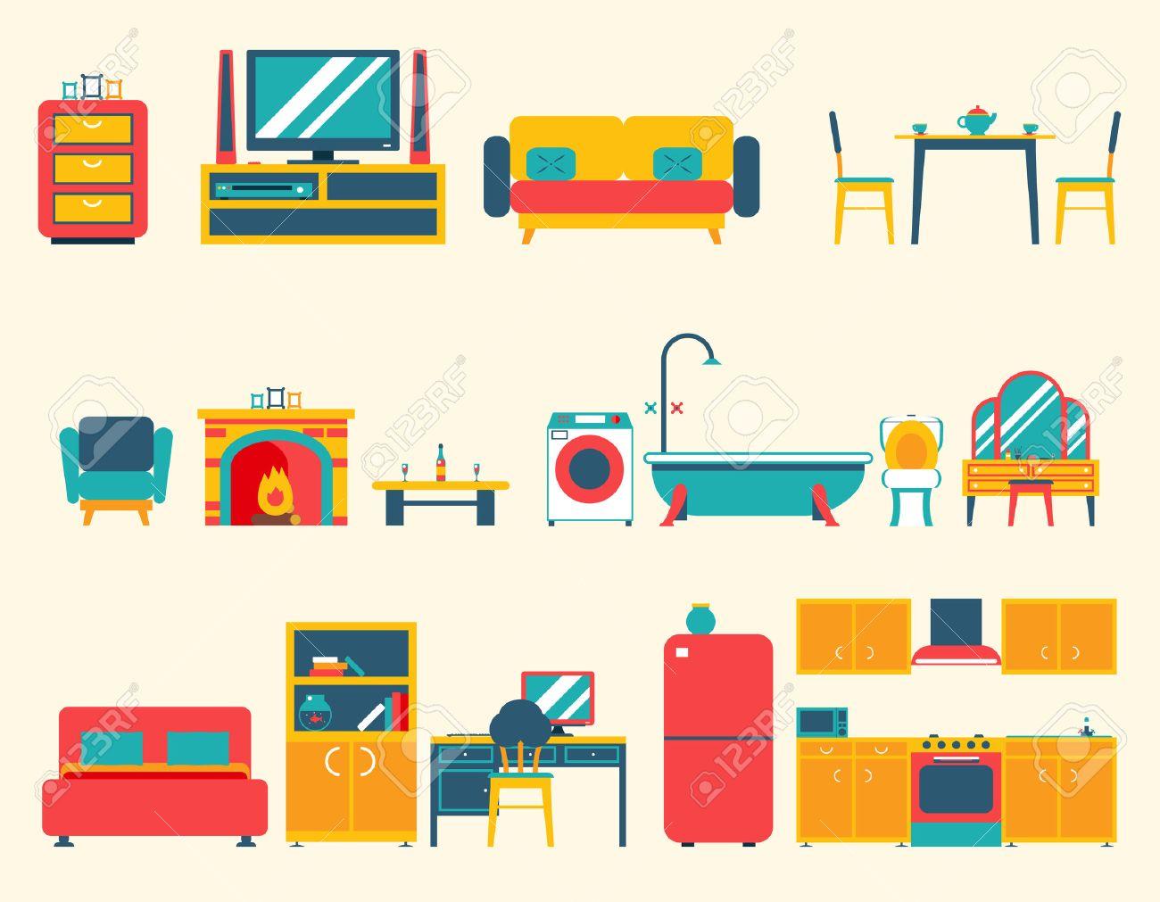Muebles Casa Iconos Interiores Y Símbolos Conjunto Salón Cocina ...