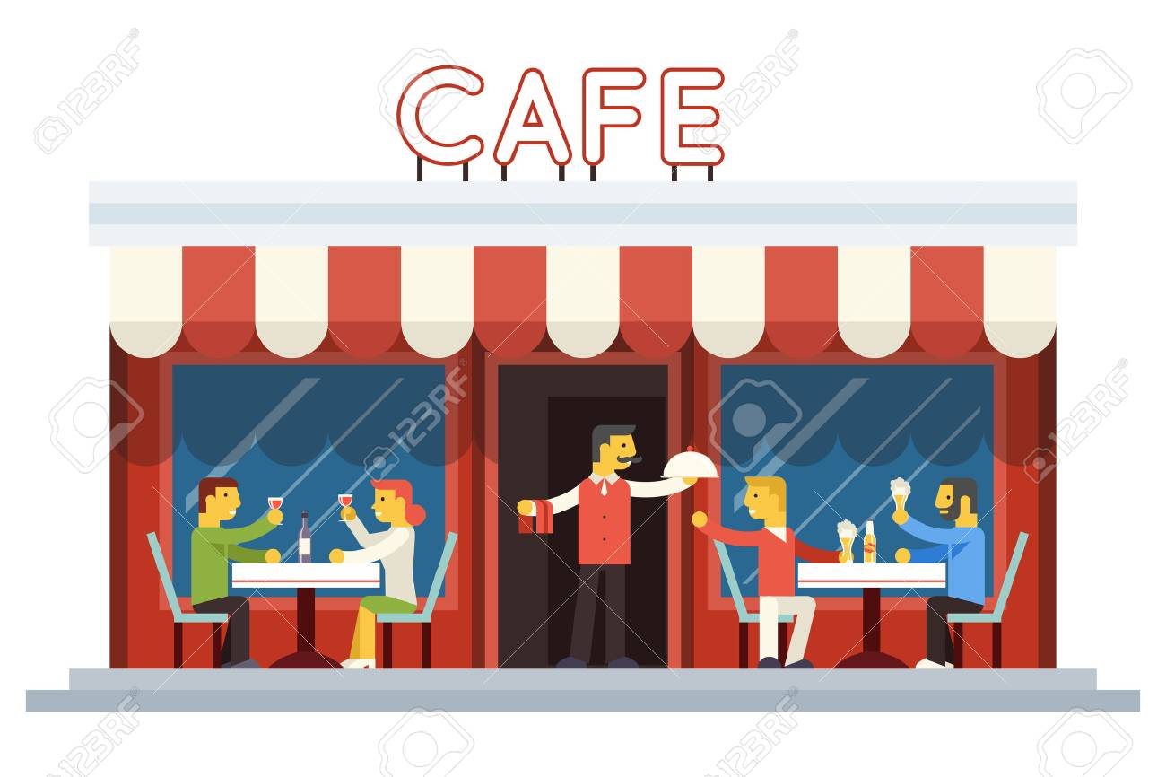 Cafe Building Facade Customer People Eating Drinking Waiter Serving Dish Icon Background Flat Design Vector Illustration Foto de archivo - 39649008