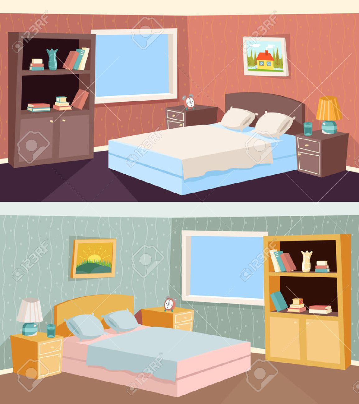 Cartoon Bedroom Apartment Livingroom Interior House Room Retro Vintage Background Vector Illustration Stock Vector 40269889