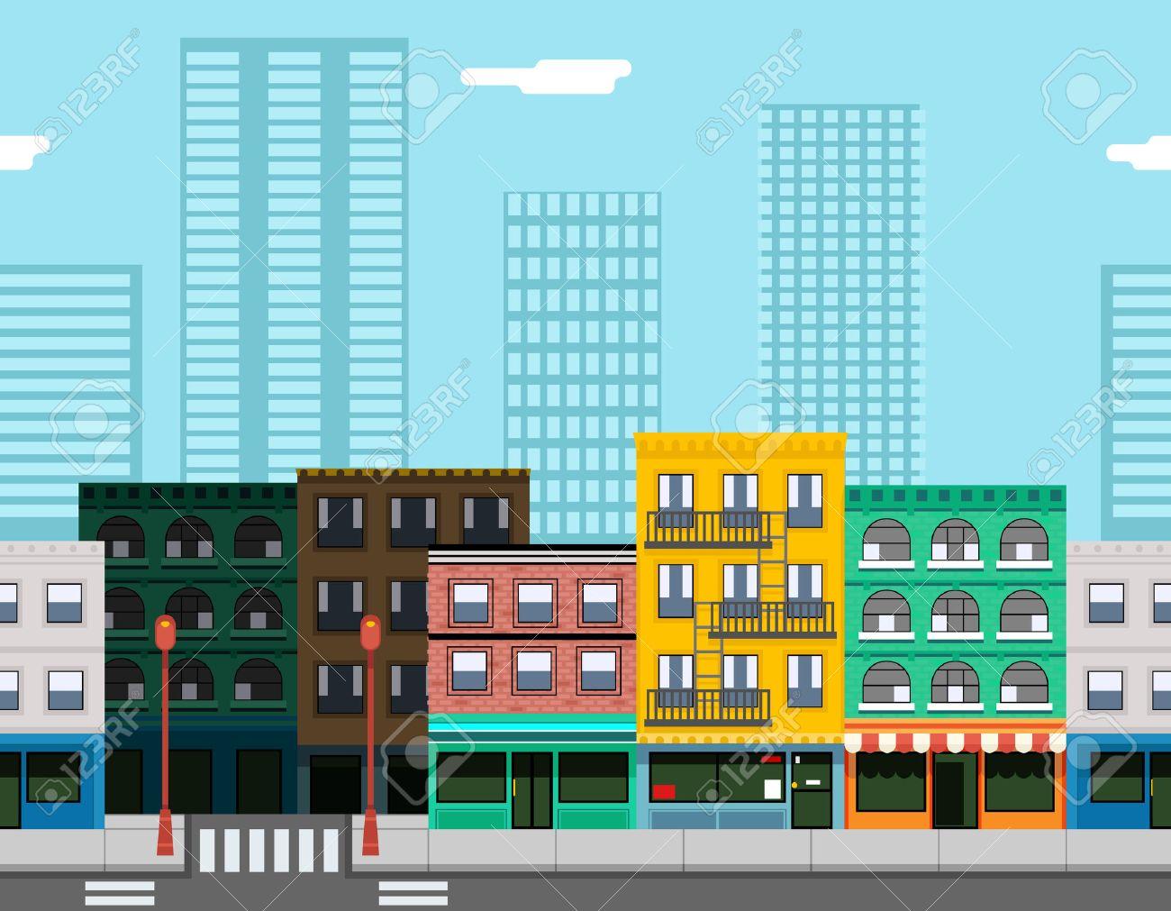 シームレスな都市ストリート コンセプト フラット設計町の風景背景ゲーム